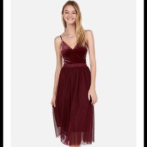 Express Velvet Bodice tulle midi dress in wine M
